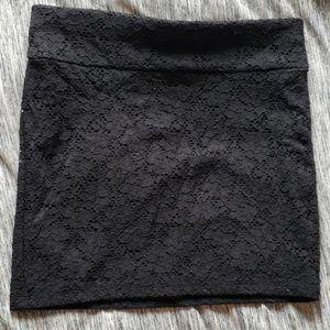 Black floral lace mini skirt